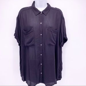 Lucky Brand Black Collared Button Down Shirt Sz XL